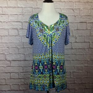 One World Top Women Large Stretch Boho Ikat